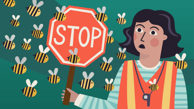 Crossing guard with stop sign surrounded by bees