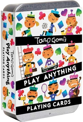 Taro Gomi's Play Anything Playing Cards deck of cards with whimsical and colorful jacks, kings, queens, and kings on the case cover