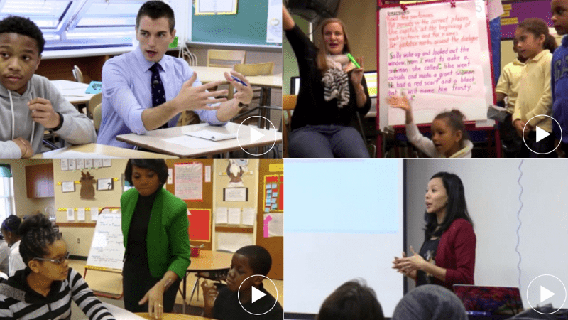 Four images of videos with teachers teaching.