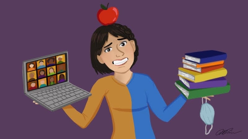 Teacher with apple on head holding laptop, books, and mask