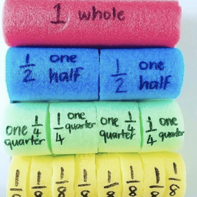 Teach fractions with pool noodles