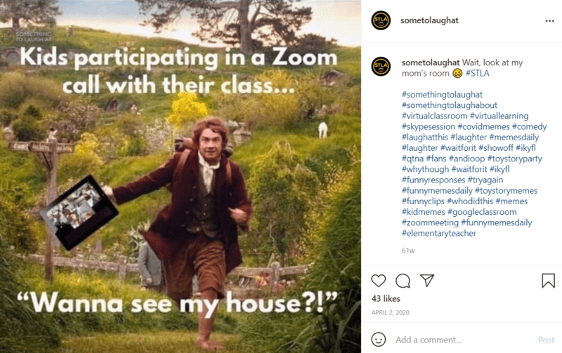 """Meme of Bilbo Baggins running through the shire with a laptop in his hands with the words """"Kids participating in a zoom call with their class... 'Wanna See My House?'"""""""