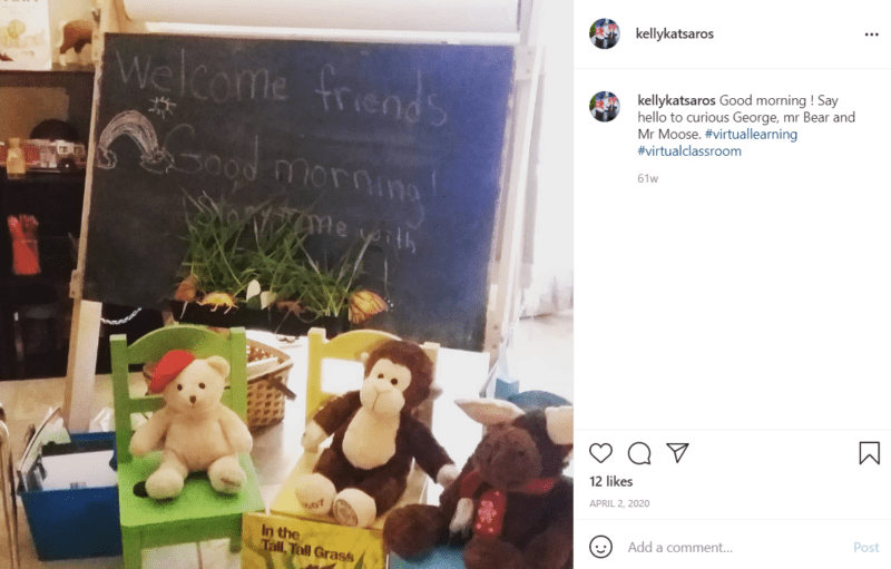Group of stuffed animals sitting in a front of a chalkboard as a welcome to students in a virtual classroom