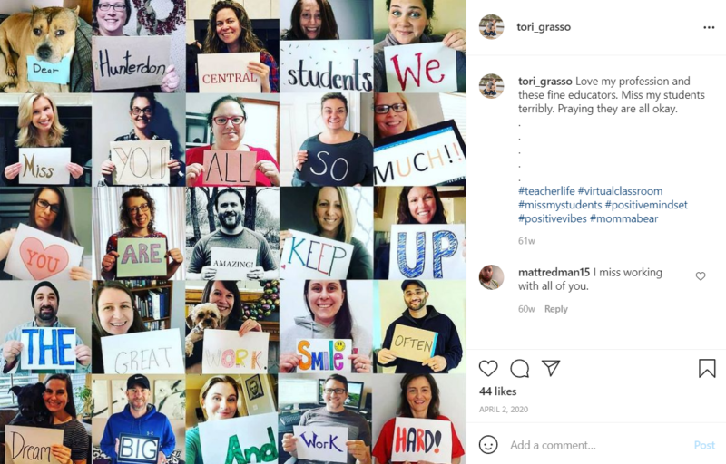 Collage of school employees holding up signs of encouragement for students