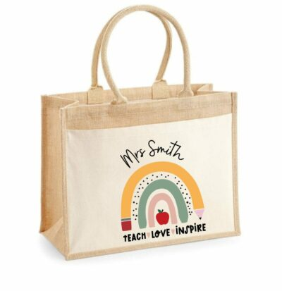 Jute teacher tote back with personalized name and teach, love, inspire with rainbow