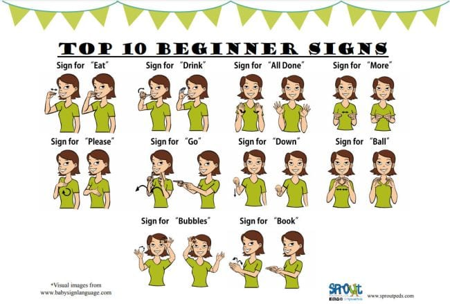 Cartoon pictures of woman showing the signs for words like eat, drink, go, and please (Teach Sign Language)