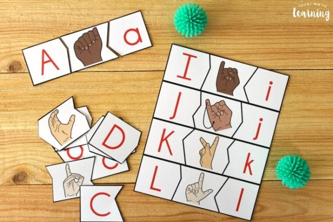 Puzzle strips with capital and lower case letters and the ASL sign for each