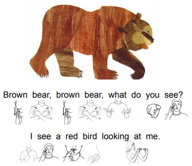 Page from the book Brown Bear, Brown Bear with the sign language under the text