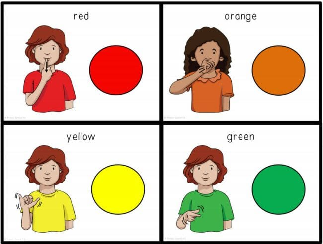 Four flashcards with red, orange, yellow, and green circles, and cartoon child showing the sign for each (Teach Sign Language)