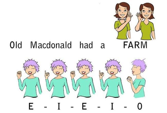 """Lyrics for Old MacDonald Had a Farm with sign language for """"farm"""" and """"E-I-E-I-O"""""""