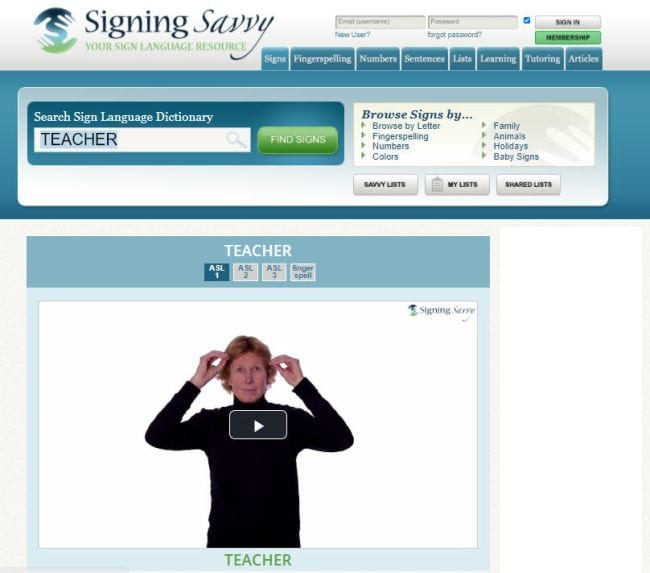 Screenshot from Signing Savvy website showing person demonstrating the sign for teacher (Teaching Sign Language)
