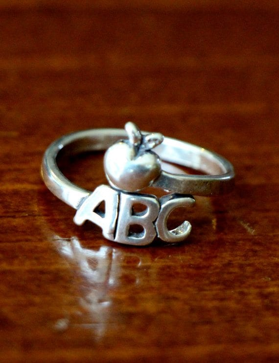 teacher jewelry - abc ring