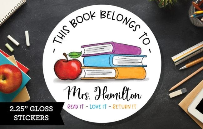 Sticker with picture of books saying This Book Belongs To... (Teacher Appreciation Gifts)