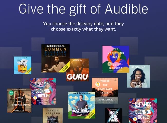 Collage of audiobooks with headline Give the gift of Audible