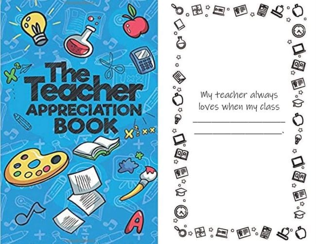 The Teacher Appreciation Book cover and sample page