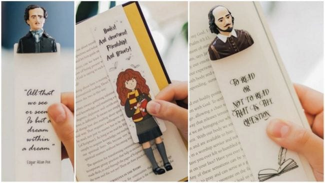 3-D bookmarks of Poe, Hermione Granger, and Shakespeare