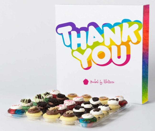 Tray of 25 mini cupcakes with a rainbow-colored thank you box