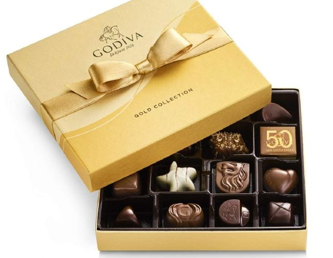 A gold box of assorted Godiva chocolates (Teacher Appreciation Gifts)