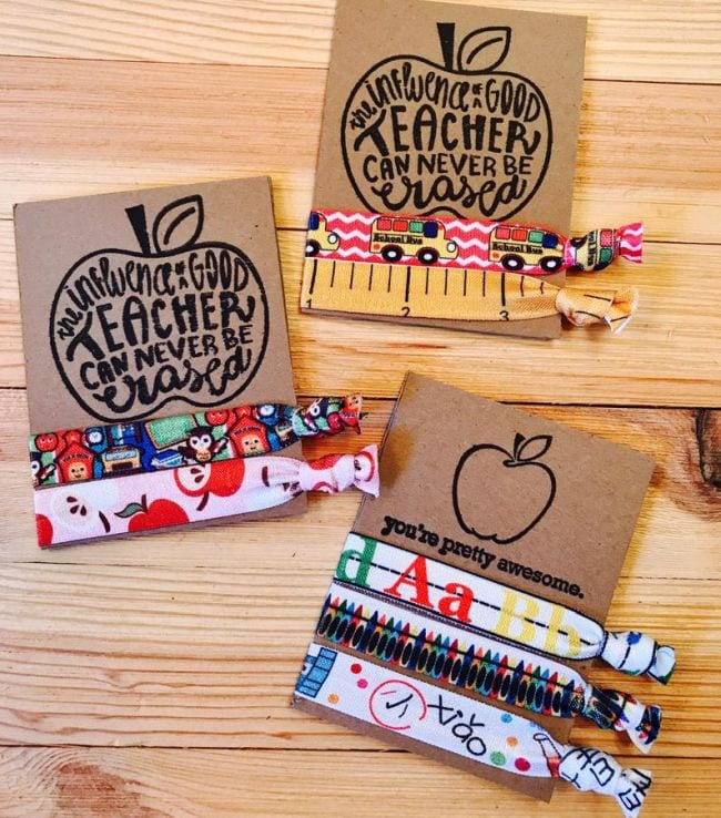 Teacher themed fabric hair ties in a variety of patterns