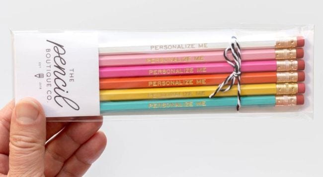 Pack of colorful pencils saying Personalize Me (Teacher Appreciation Gifts)
