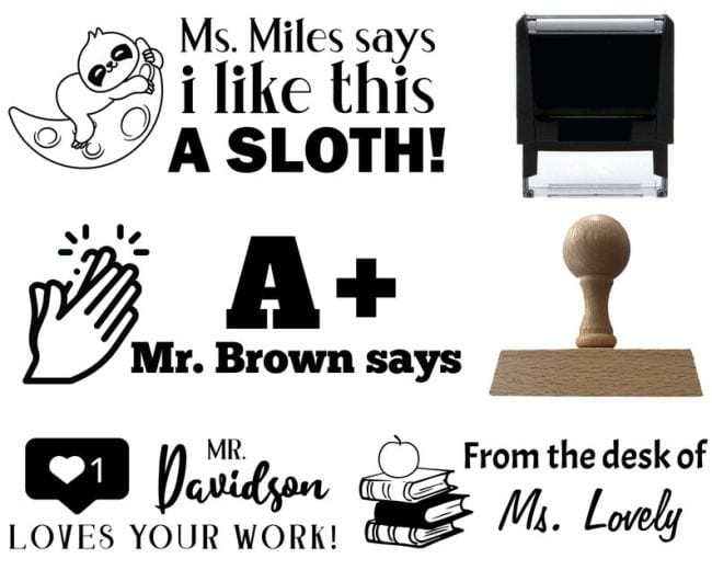 Collage of personalized teacher stamps (Teacher Appreciation Gifts)