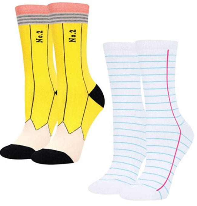 Socks that look like a number 2 pencil and notebook paper