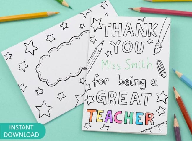 Colorable card saying Thank You For Being a Great Teacher