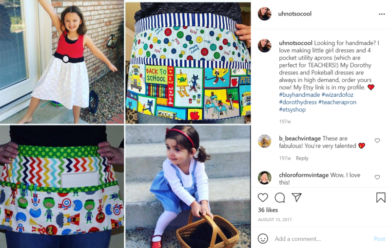 Collage of photos with student and teacher aprons