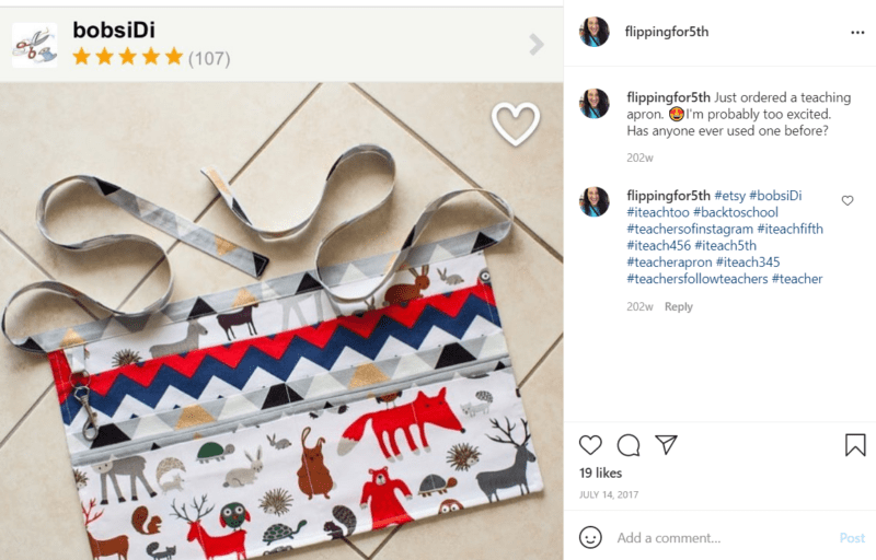 Teacher apron adorned with colorful animals on the floor