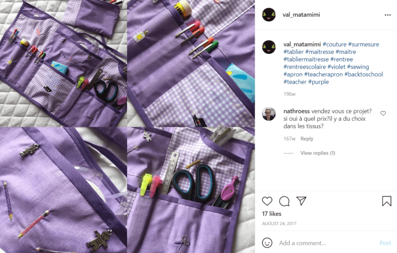 Collage of several photos of a purple teacher apron from different angles with lots of pockets