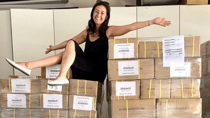Teacher shows off books for becoming a children's book author