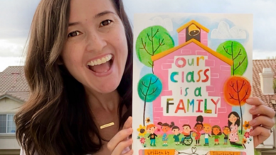 teacher becomes a children's book author and writes about how a class is like a family