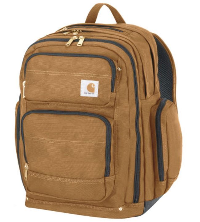 Light brown backpack with external pockets