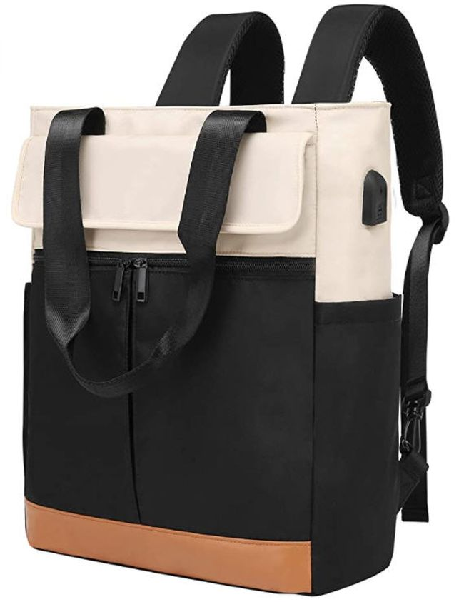 Convertible tote backpack in black, white, and brown