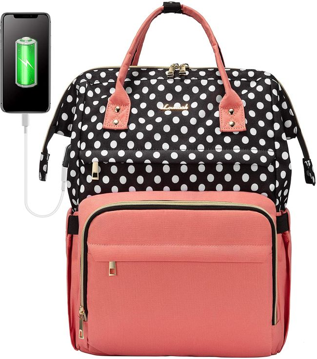 Pink and black-and-white polka dotted laptop backpack (Best Teacher Backpacks)