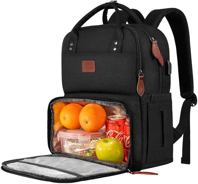 Black backpack with front cooler pocket