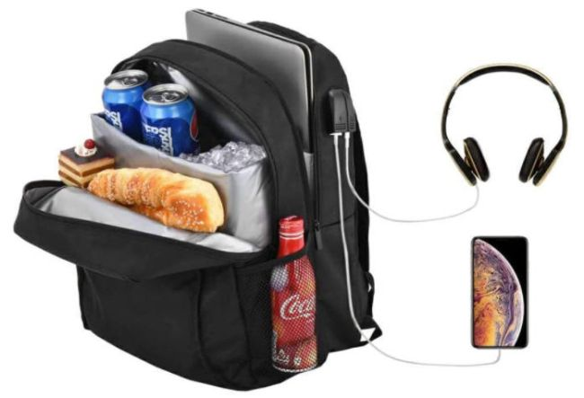 Backpack with cooler pocket and ports for headphones and charger