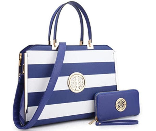 Blue and white striped bag with blue wallet