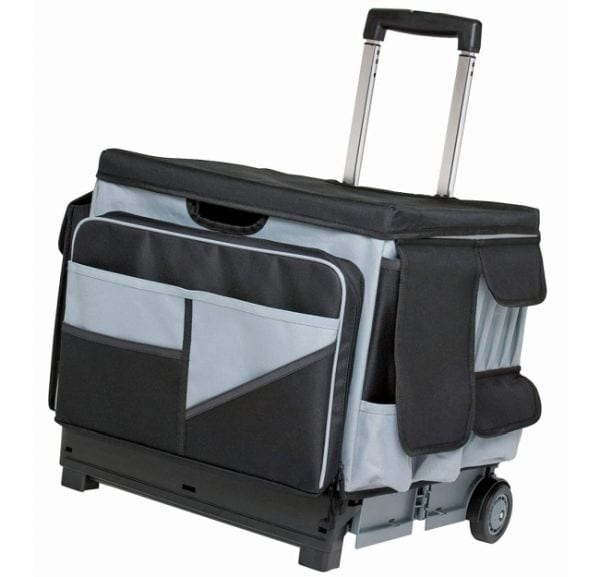 Rolling cart with organizer pockets and extendable handle (Best Teacher Bags)