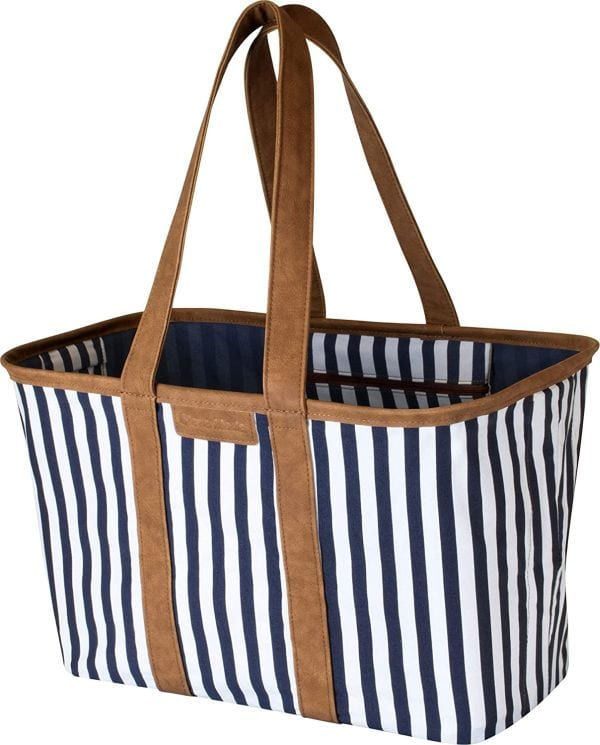 Collapsible rectangular striped tote bag with brown handles