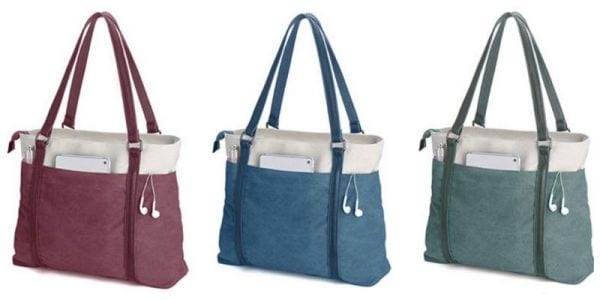 Simple tote bags with external pockets in rose, blue, and sage green