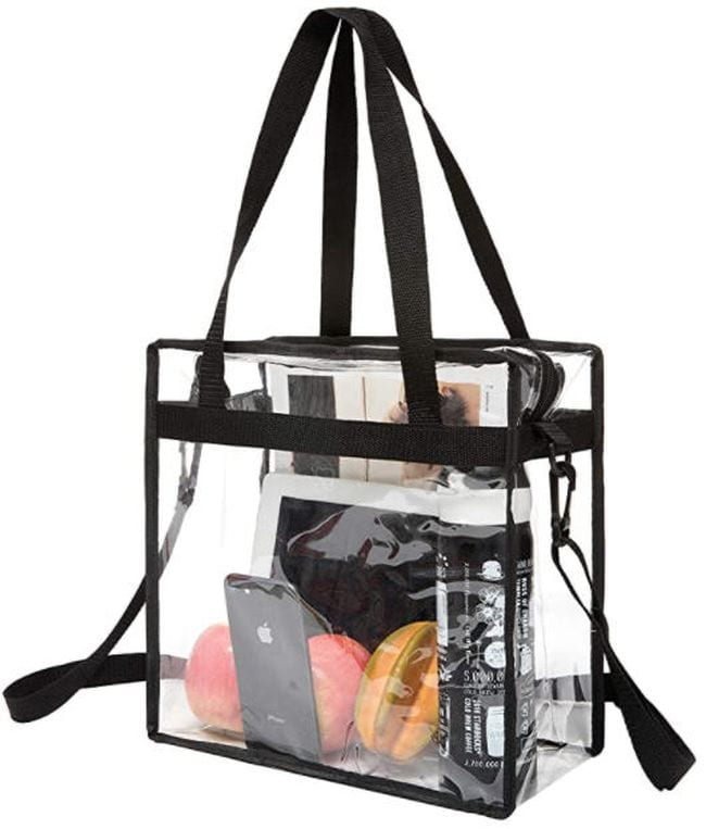Clear tote bag with black hands and outside pocket (Best Teacher Bags)