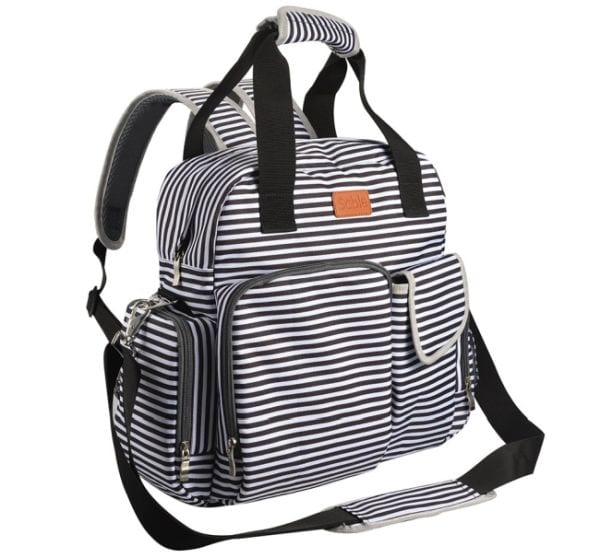 Striped backpack diaper bag with shoulder strap and insulated pockets (Best Teacher Bags)