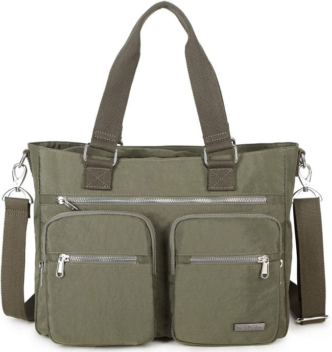 Olive green tote bag with outside zipper pockets and detachable handles