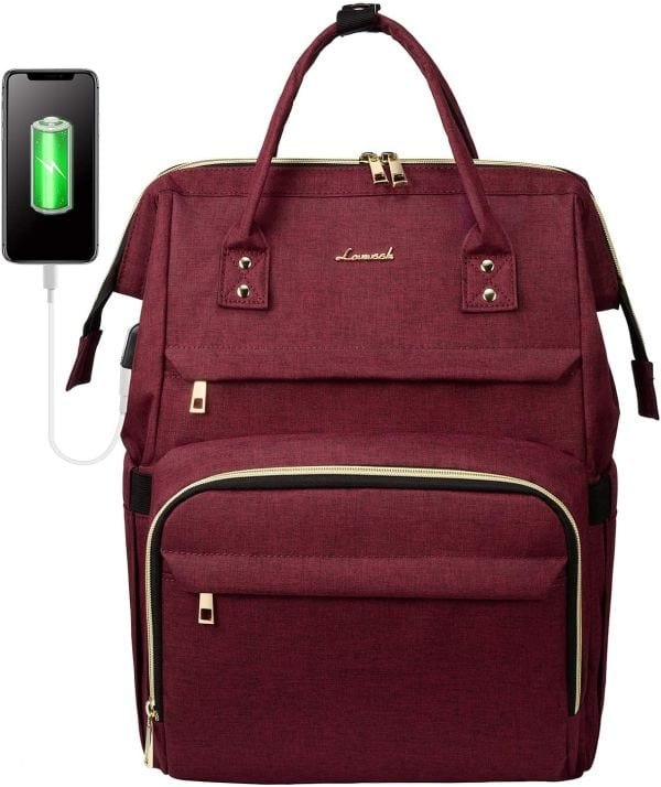 Wine-colored backpack made to fit a laptop, with top handle and external USB charging port (Best Teacher Bags)