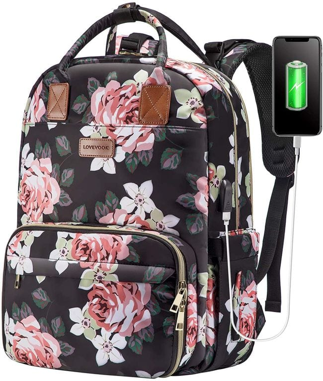 Floral print backpack with USB charging port (Best Teacher Bags)
