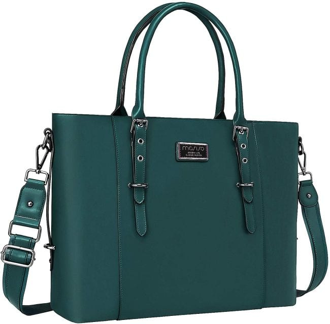 Teal leather tote bag with detachable handle (Best Teacher Bags)