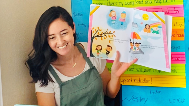 Children's book author reads her book to her class