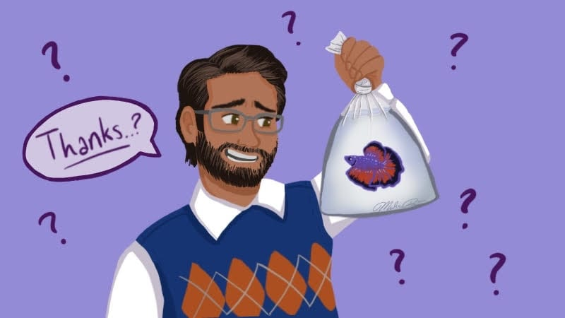 Teacher with a beta fish in a bag saying thanks? on a purple background