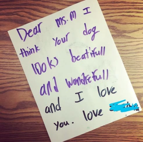 A student who appreciates the dog